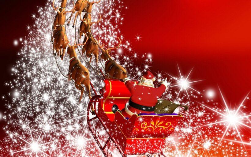 Hình ảnh ông già Noel cưỡi xe tuần lộc