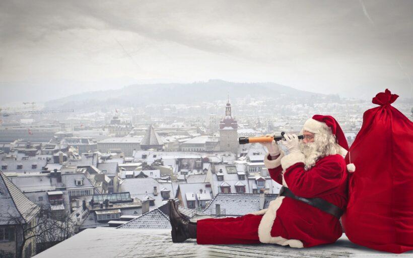 Hình ảnh ông già Noel và bao quà
