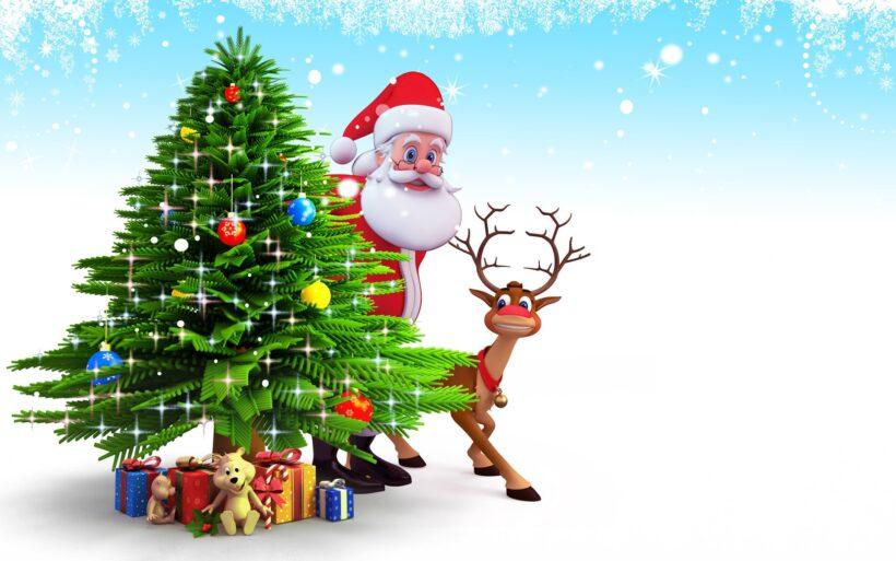 Hình ảnh ông già Noel và con tuần lộc