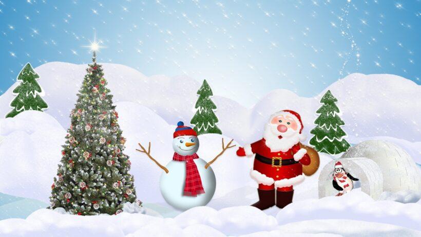 Hình ảnh ông già Noel và người tuyết