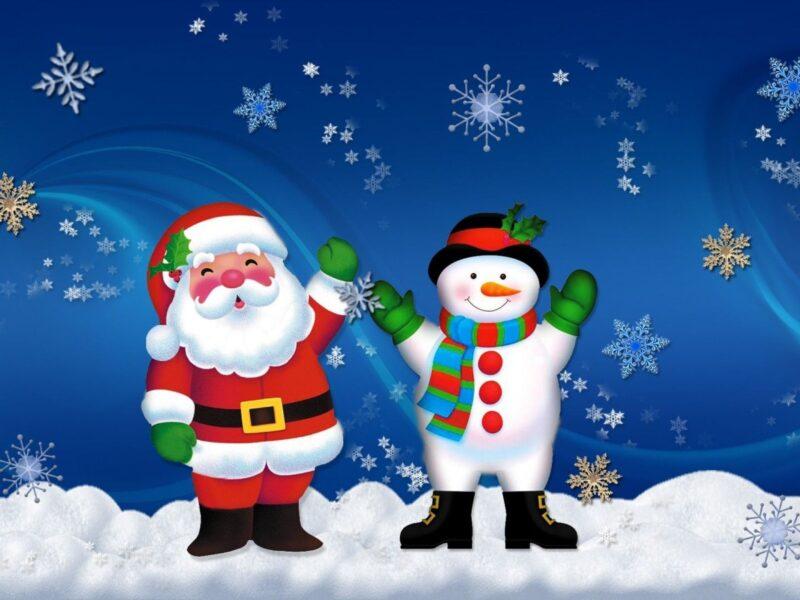 Hình ảnh ông già Noel và người tuyết dễ thương