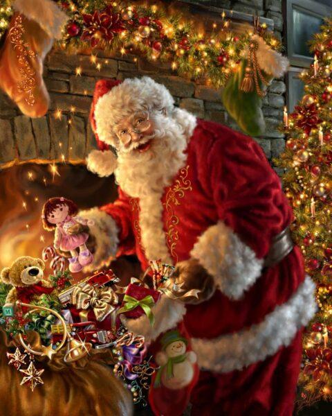 Hình ảnh ông già Noel và những món quà dễ thương