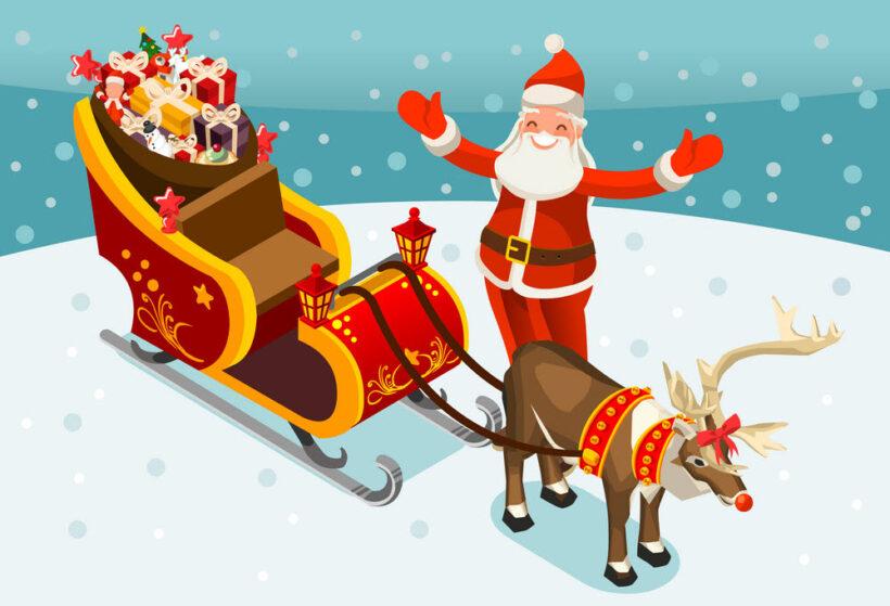 Hình ảnh ông già Noel và xe tuần lộc
