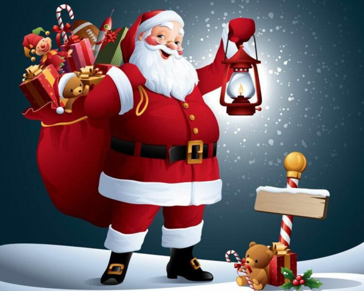 Hình ảnh ông già Noel vác túi đựng đầy quà
