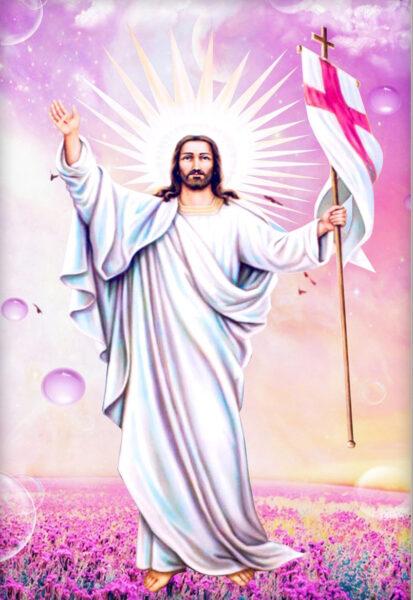 Hình ảnh thiên chúa cầm cờ và giơ tay vẫy chào mọi người
