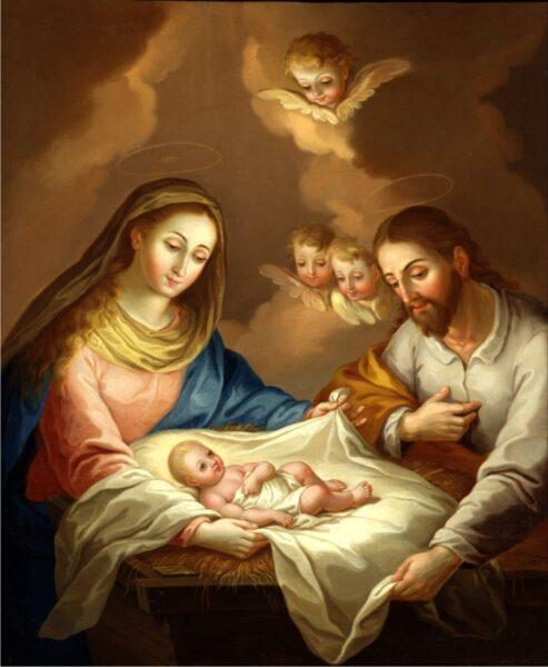 Hình ảnh thiên chúa lúc mới sinh ra đời bên cha và mẹ hạnh phúc
