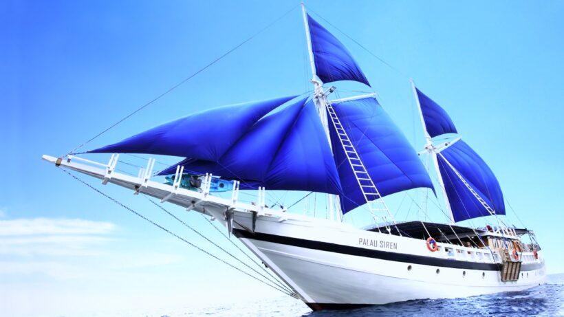 Hình ảnh thuyền buồm đang căng gió