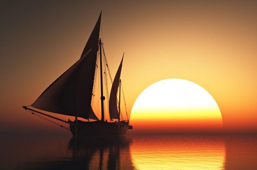 Hình ảnh thuyền buồm lúc hoàng hôn