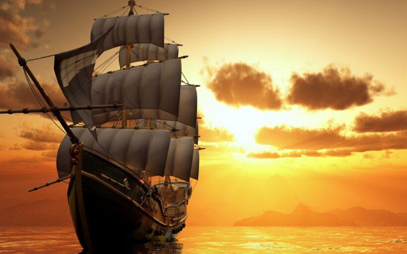 Hình ảnh thuyền buồm lúc hoàng hôn trên biển