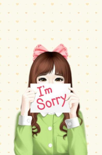 hình ảnh xin lỗi tranh vẽ dễ thương