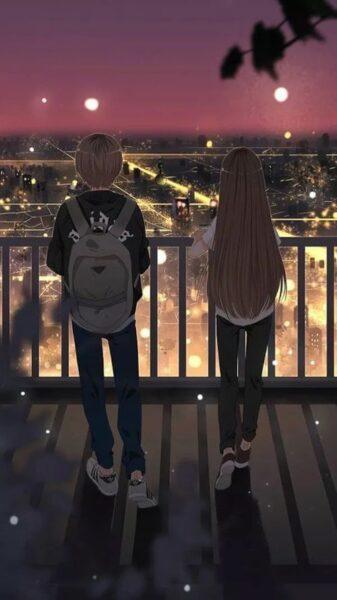 hình anime cặp đôi quay lưng