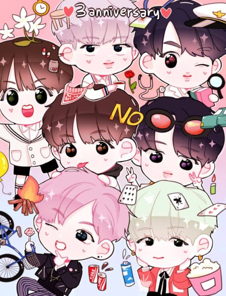hình nền chibi nhóm BTS dễ thương