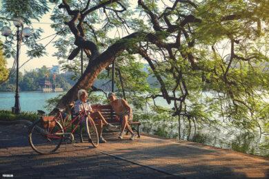 hình nền hà nội về hồ Gươm mùa hè dưới gốc cây phượng