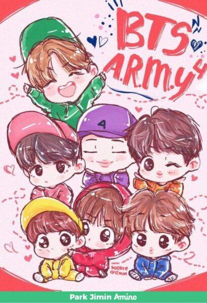 hình vẽ nhóm chibi BTS tuyệt đẹp