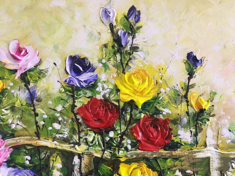Hình vẽ vườn hoa hồng bằng sơn dầu