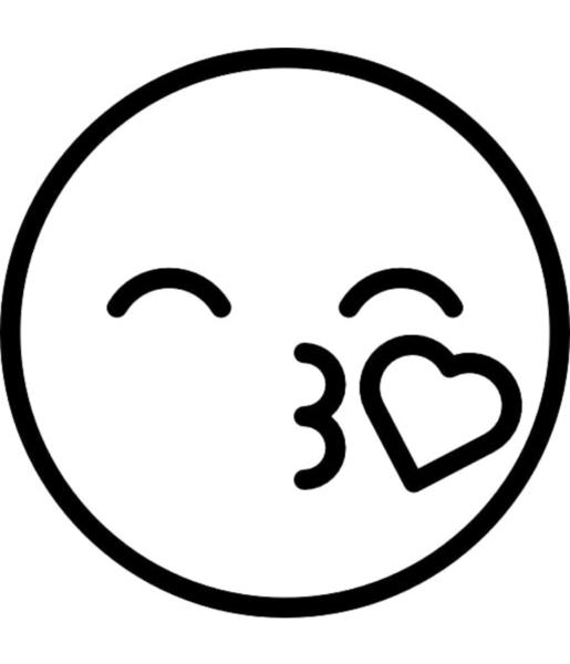 icon hình mặt cười hôn trái tim cute