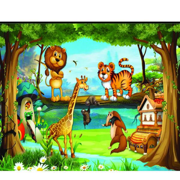 Tranh tường mầm non đẹp về các con vật trong rừng