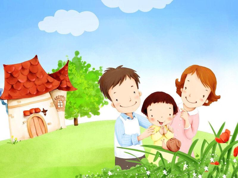 Tranh tường mầm non đẹp về cuộc sống gia đình hạnh phúc