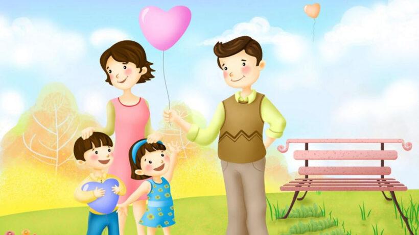 Tranh tường mầm non đẹp ý nghĩa về hạnh phúc gia đình