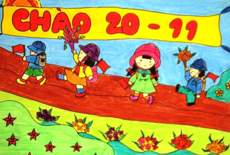 tranh vẽ 20 11 Ngày Nhà Giáo Việt Nam cho học sinh lớp 3