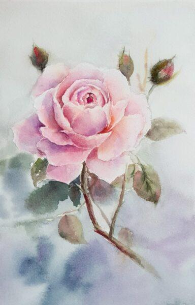 tranh vẽ cành hoa hồng đẹp