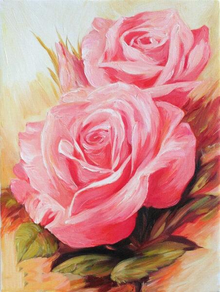 Tranh vẽ hoa hồng bằng sơn dầu
