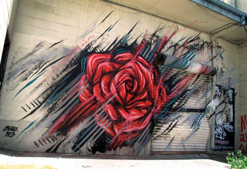 Tranh vẽ hoa hồng trên tường ấn tượng, độc đáo