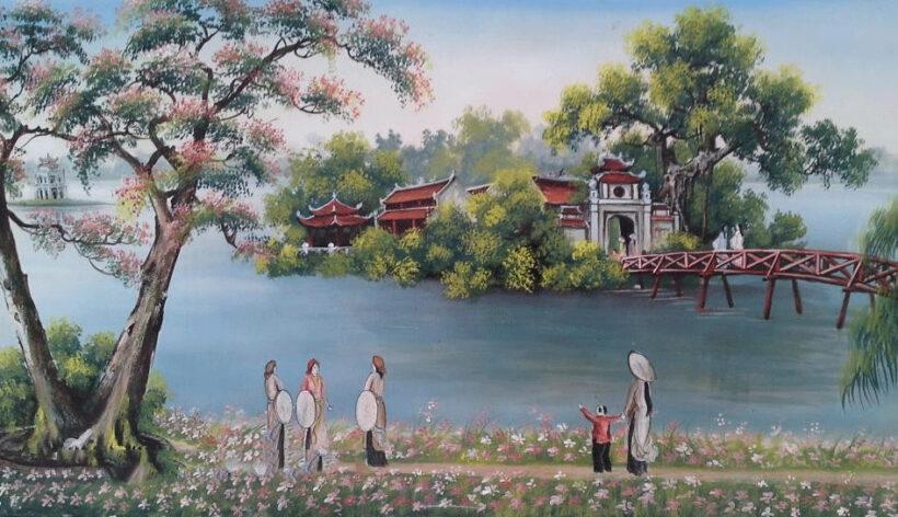 tranh vẽ phong cảnh hồ Gươm đẹp làm tranh treo tường