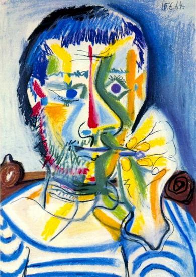 Tranh vẽ Picasso Buste d`homme à la cigarette II