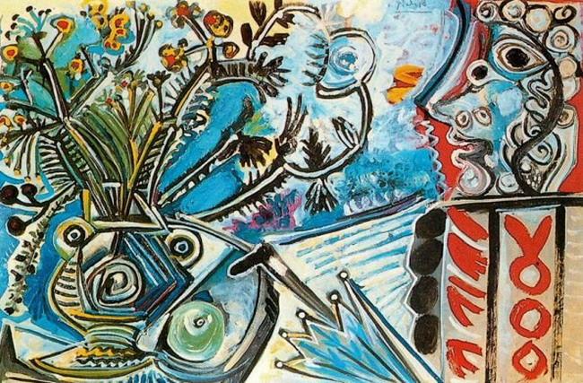 Tranh vẽ Picasso Fleurs et buste d`homme au parapluie