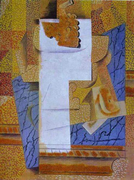 Tranh vẽ Picasso Fruit Vase et grappe de raisin