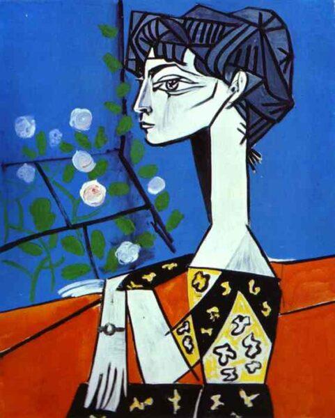 Tranh vẽ Picasso Jacqueline avec des fleurs