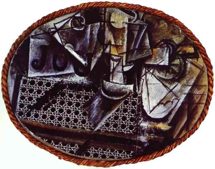 Tranh vẽ Picasso Nature morte à la chaise cannée