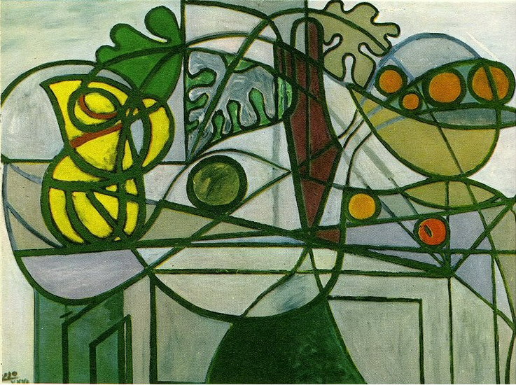 Tranh vẽ Picasso Pichet, coupe de fruits et feuillage