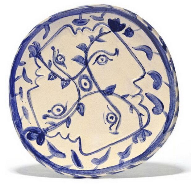 Tranh vẽ Picasso Quatre profils enlac