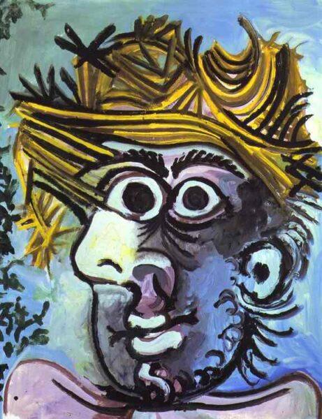 Tranh vẽ Picasso Tête de homme au chapeau de paille