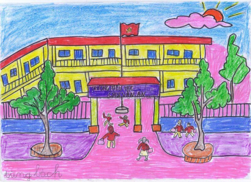 tranh vẽ trường em của học sinh
