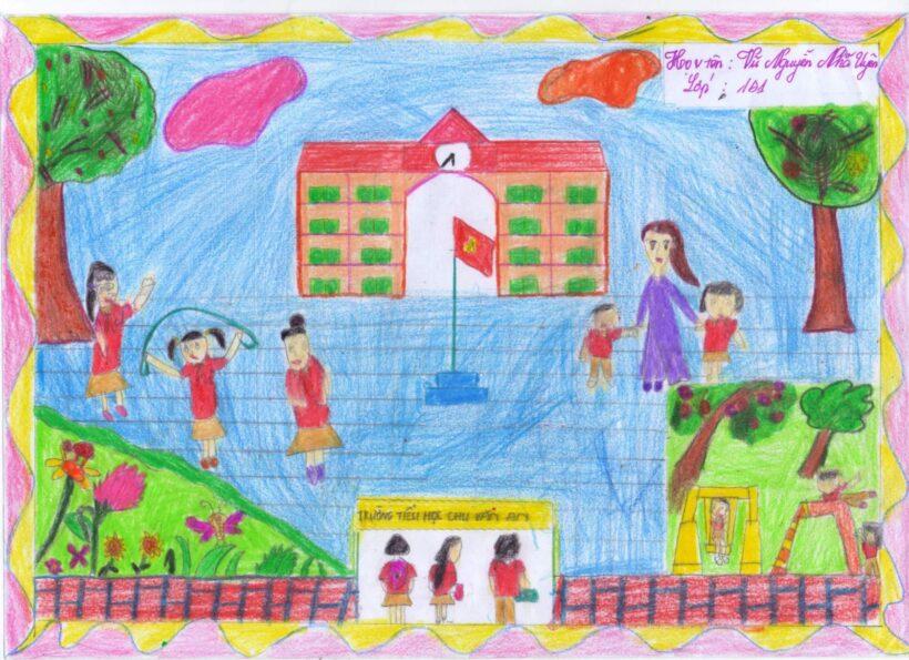 tranh vẽ trường em của học sinh lớp 1