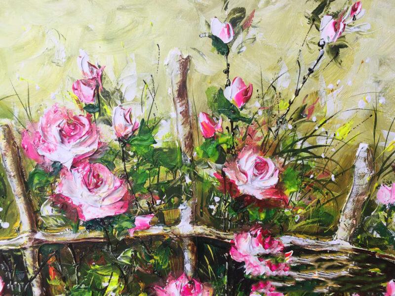 Tranh vẽ vườn hoa hồng