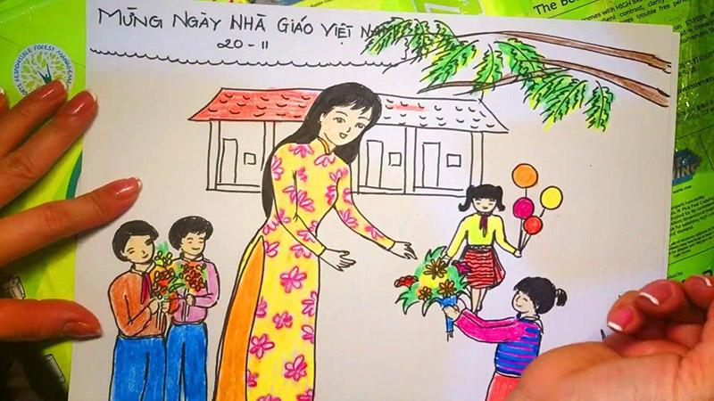 Vẽ tranh 20 11 Ngày Nhà Giáo Việt Nam học sinh tặng hoa cô giáo