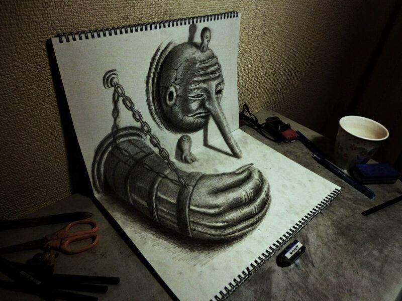 Vẽ tranh 3D bằng bút chì cực độc