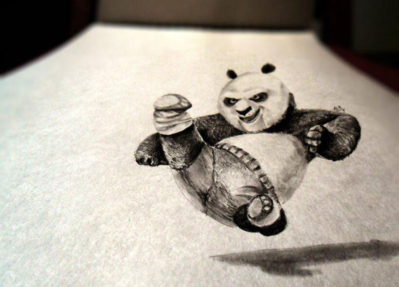 Vẽ tranh 3D gấu trúc