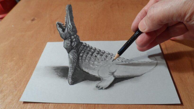 Vẽ tranh 3D hình cá sấu