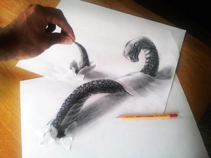 Vẽ tranh 3D hình con rắn