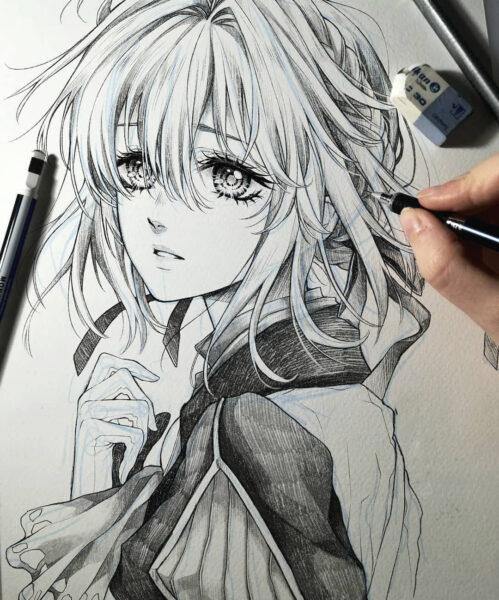 Vẽ tranh anime nữ bằng bút chì đẹp