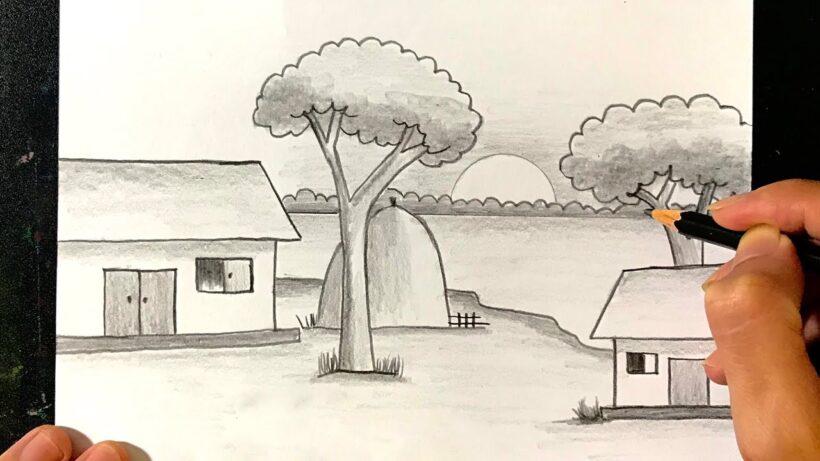 Vẽ tranh bằng bút chì về làng quê