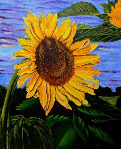 vẽ tranh bông hoa hướng dương