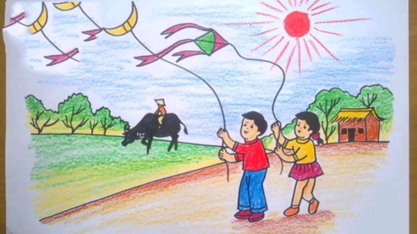 Vẽ tranh các em bé thả diều trên đường làng quê