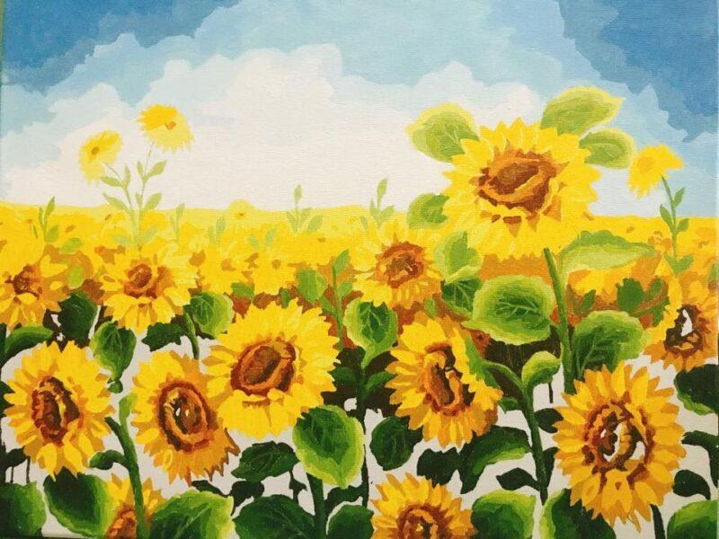 vẽ tranh cánh đồng hoa hướng dương trên lụa đẹp