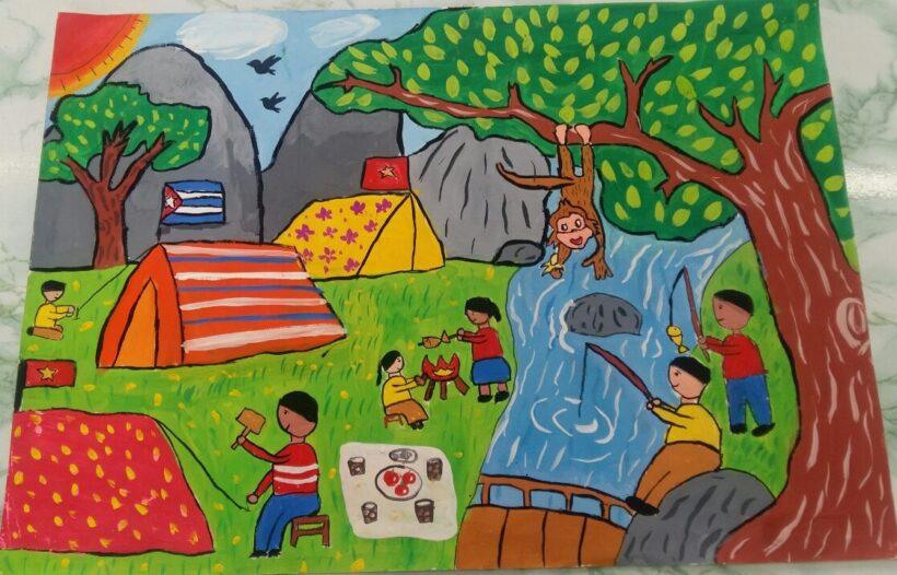 Vẽ tranh chủ đề Việt nam - Cuba thắm tình đoàn kết